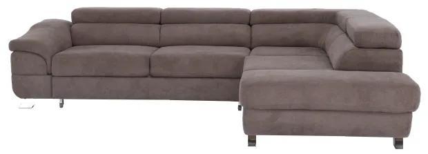 KONDELA Legas P rohová sedačka s rozkladom a úložným priestorom hnedá
