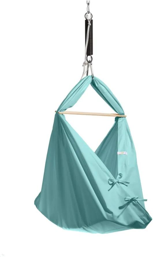 Malá mentolovozelená kolíska z bavlny so zavesením do dverí Hojdavak Baby (0 až 9 mesiacov)
