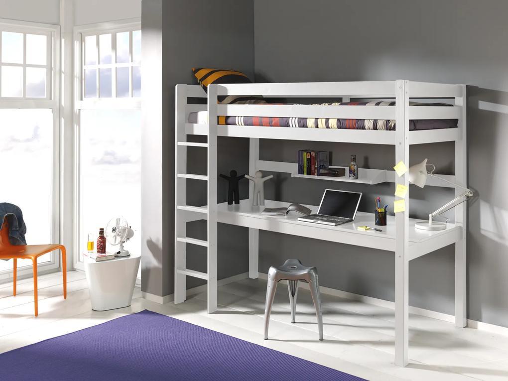 Poschodová posteľ z masívu s písacím stolom Pino PIOLBU14