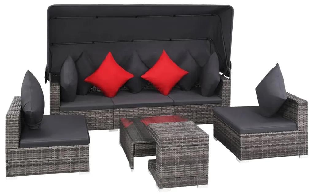 vidaXL 7-dielna záhradná sedacia súprava s vankúšmi sivá polyratanová