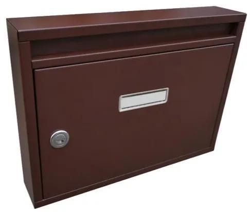 Poštová schránka DLS-E-01-B-P_H, vhod formát A4, interierové schránky, hnedá RAL 8017 / Barva schránky:Hnědá RAL 8017