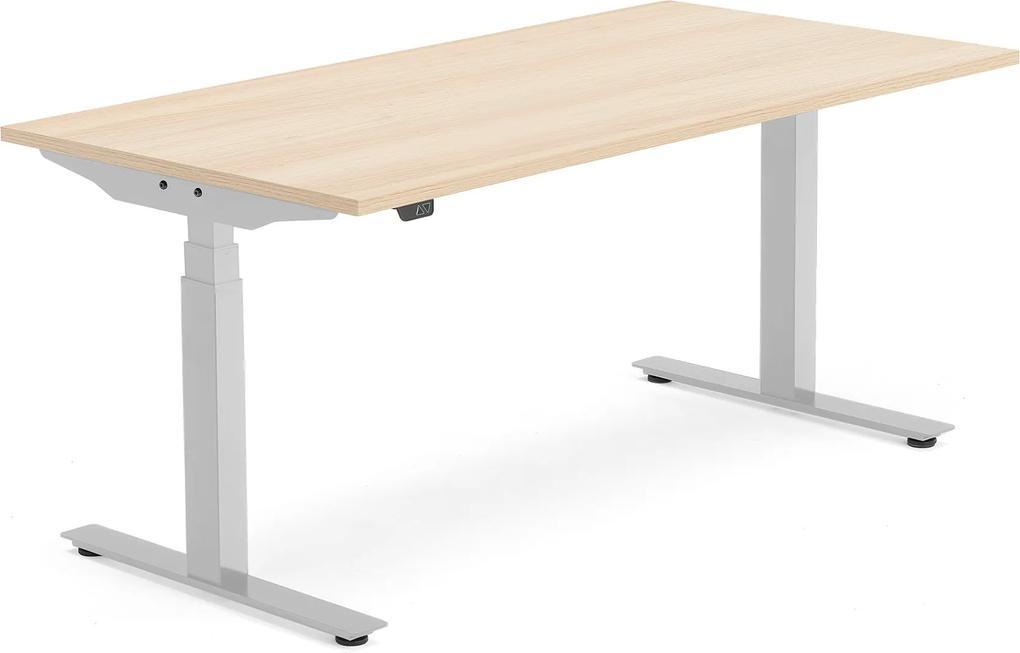 Výškovo nastaviteľný stôl Modulus Smart, 1600x800 mm, strieborná, dub