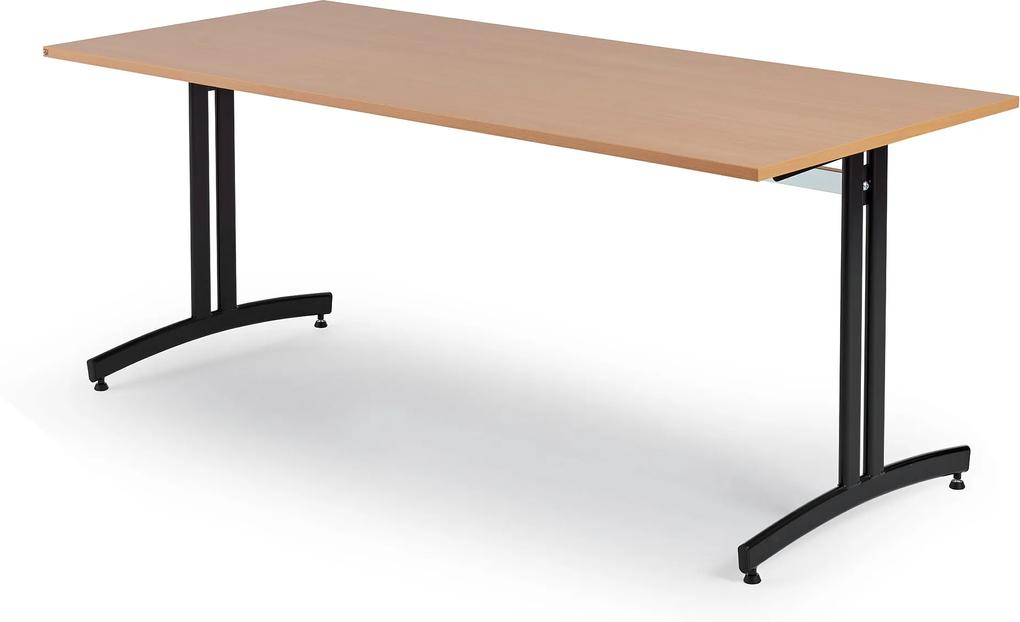 Jedálenský stôl Sanna, 1800x700 mm, buk / čierna