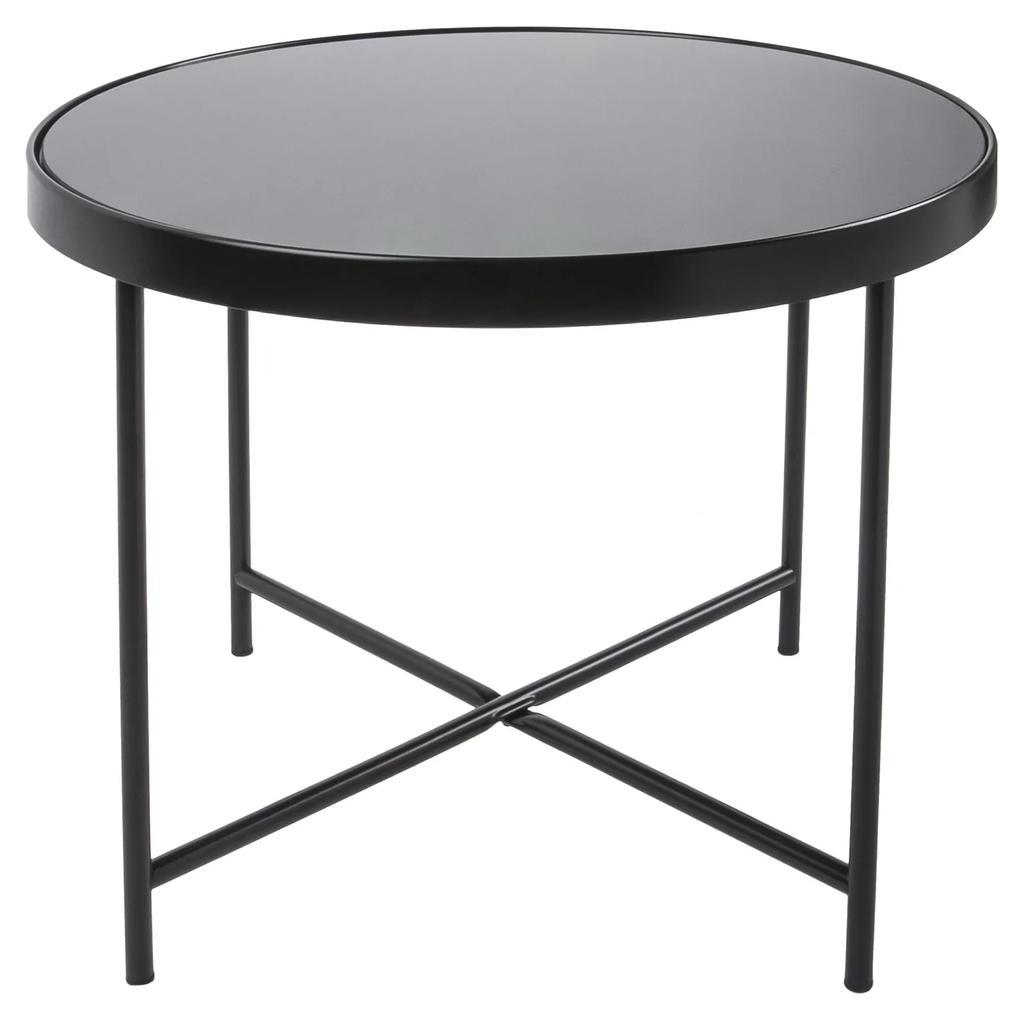 LEITMOTIV Veľký čierny stolík so sklenenou doskou