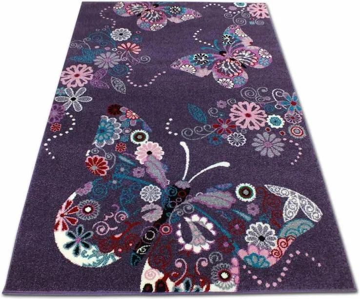 MAXMAX Detský koberec Motýliky - fialový