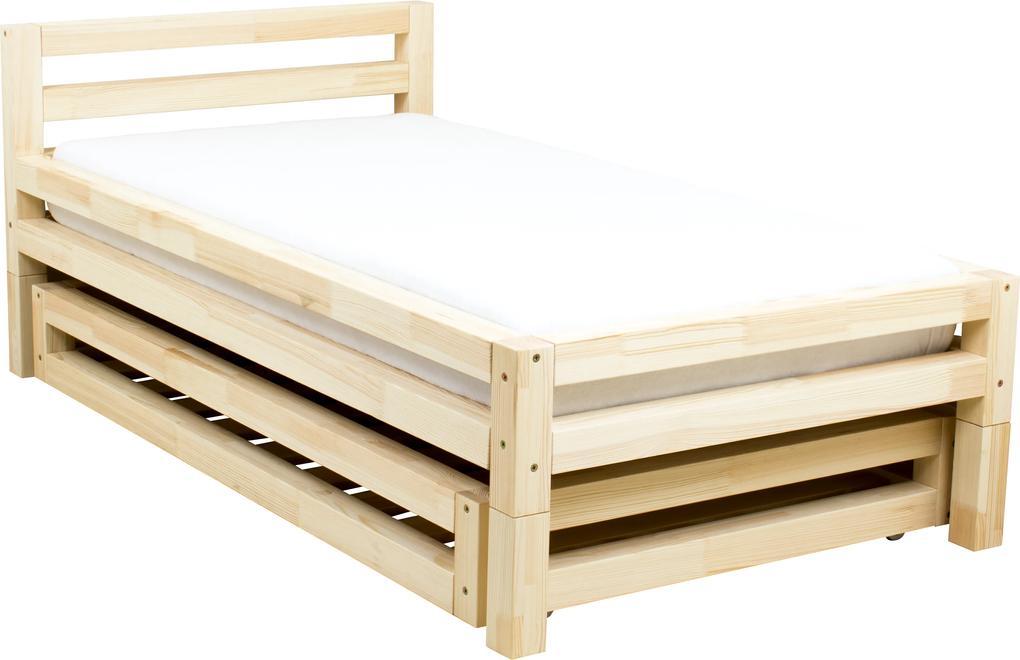 MAXMAX Detská dizajnová posteľ z masívu 180x90 cm SINGLE so zásuvkami