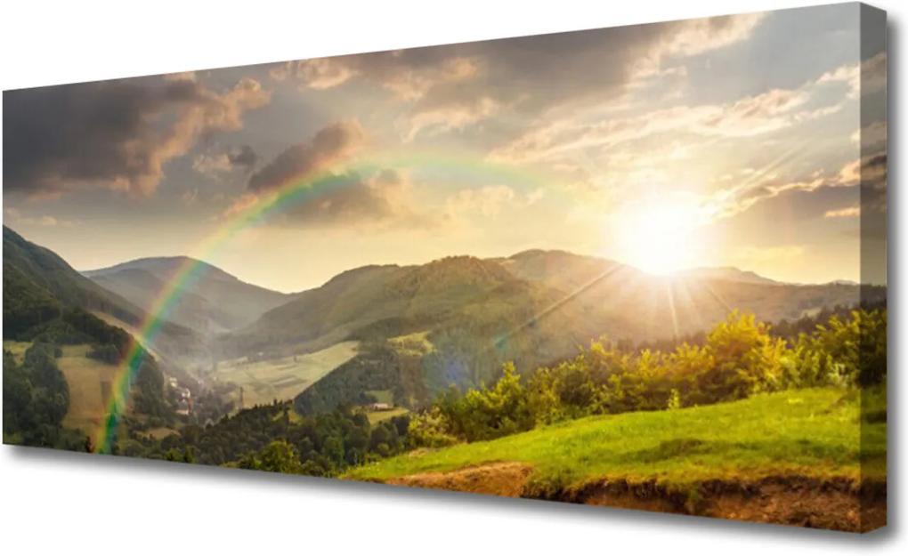 Obraz Canvas Lúka Hory Západ Slnka
