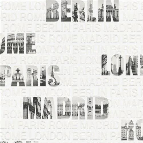 Vliesové  tapety na stenu Collection 2  432916, nápisy miest čierno-biele, rozmer 10,05 m x 0,53 m, IMPOL TRADE