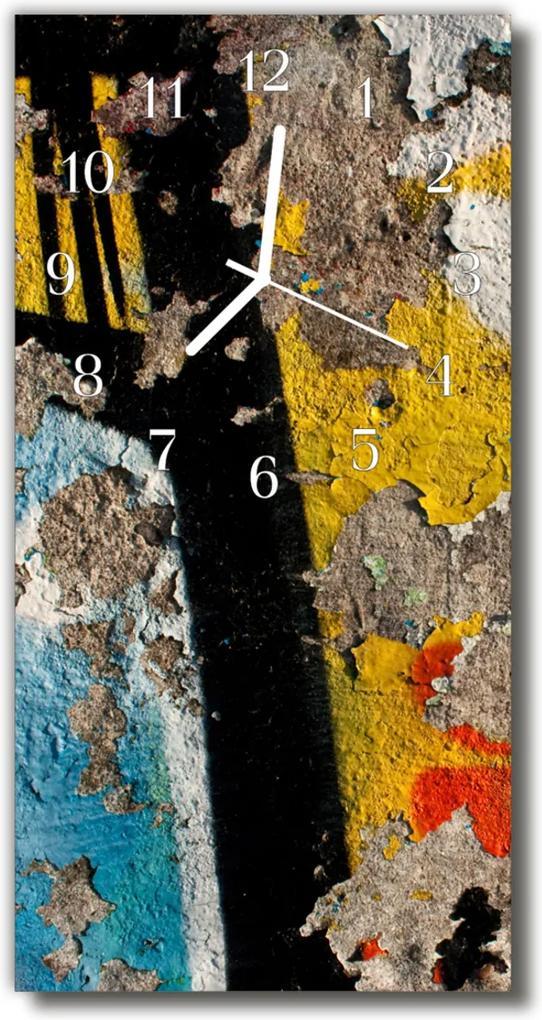 Skleněné hodiny vertikální Krakovaná barevná zeď