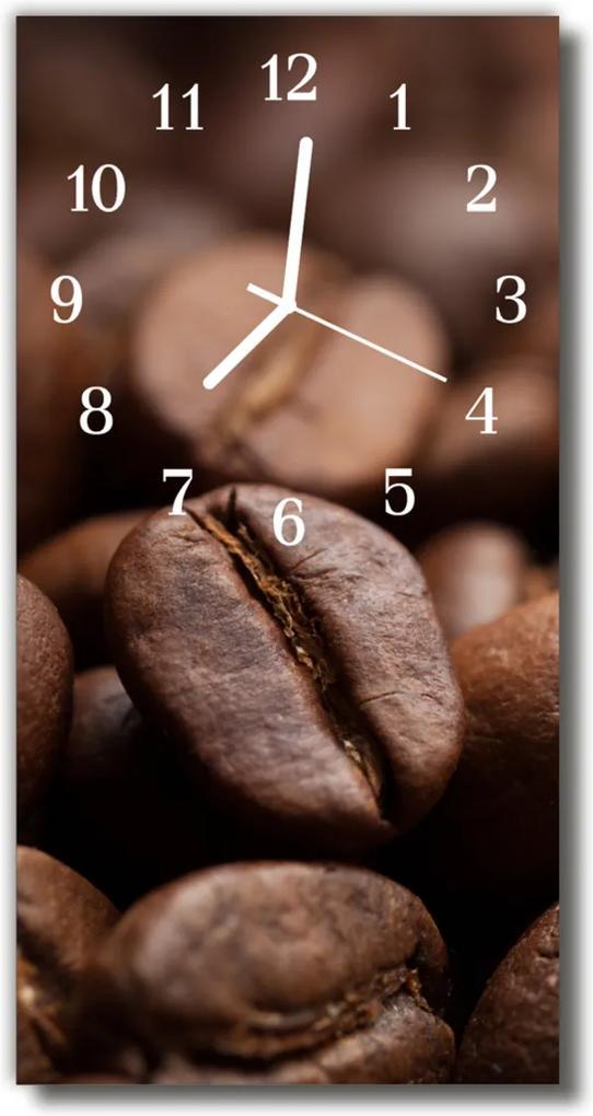Nástenné hodiny vertikálne  Kuchynská zrná hnedé kávy