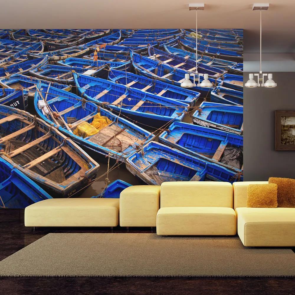 Fototapeta - Modré rybářské lodě 200x154 cm