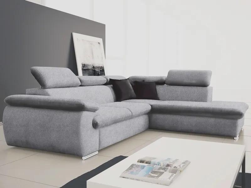 Rohová sedacia súprava Viera 2F-OTT/BK, svetlo šedá tkanina, pravý roh
