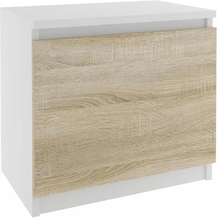 Nočný stolík s dvierkami v dekore dub sonoma, biely korpus