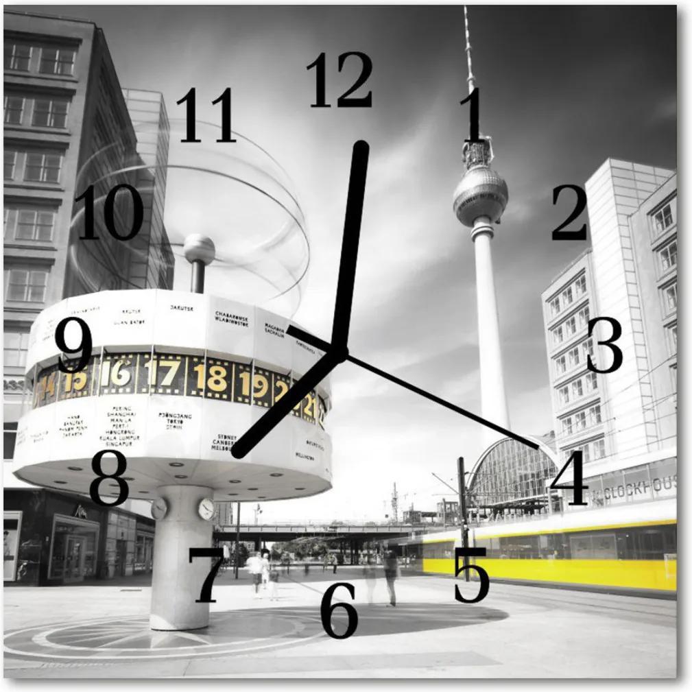 Skleněné hodiny čtvercové Berlín