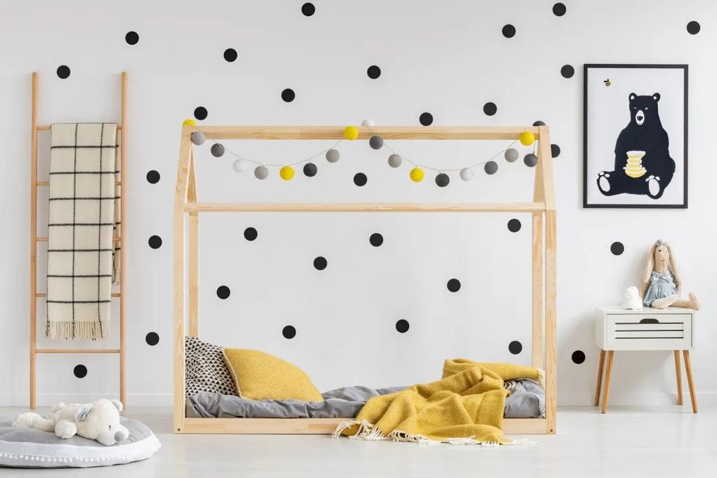 MAXMAX Detská posteľ z masívu DOMČEK - TYP E 140x70 cm