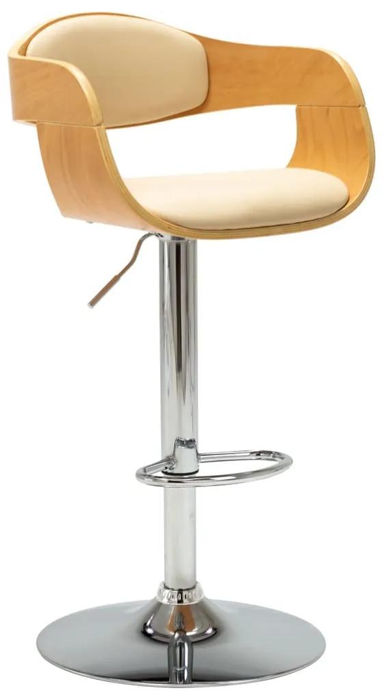 vidaXL Barová stolička krémová ohýbané drevo a umelá koža