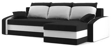 Rohová rozkladacia sedacia súprava HEWLET Čierna/biela Pravá