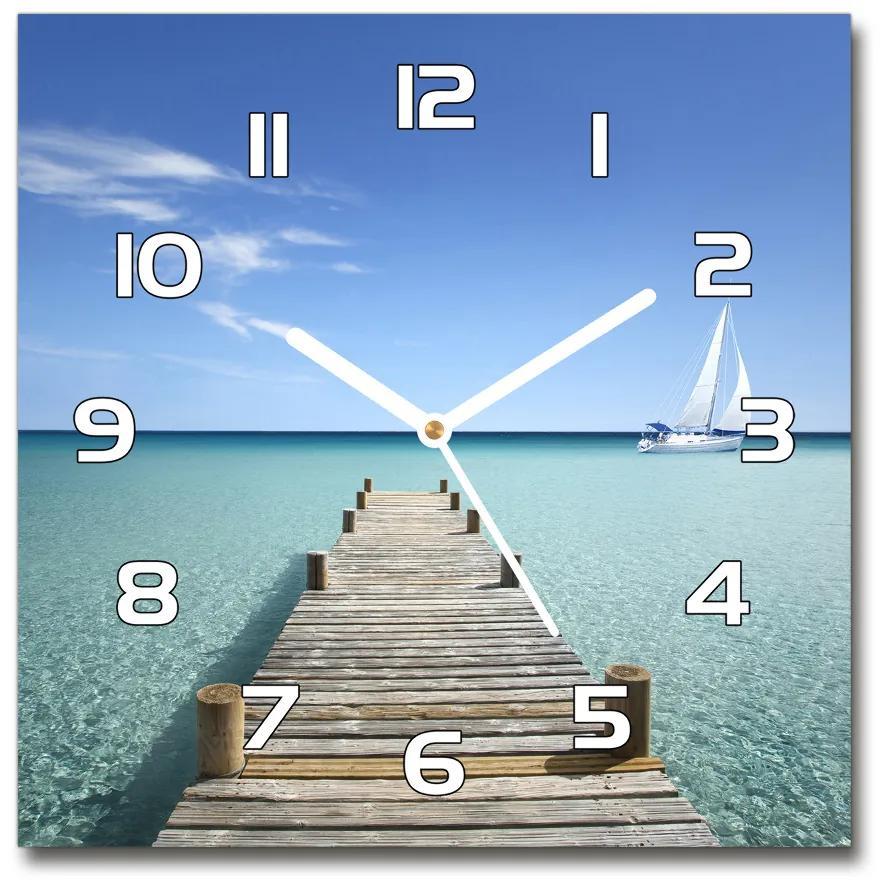 Sklenené hodiny štvorec Drevené mólo pl_zsk_30x30_f_57042247