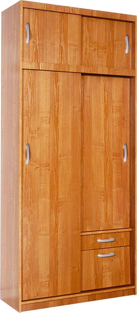 MEBLOCROSS Aleksander 1 5D šatníková skriňa s posuvnými dverami jelša