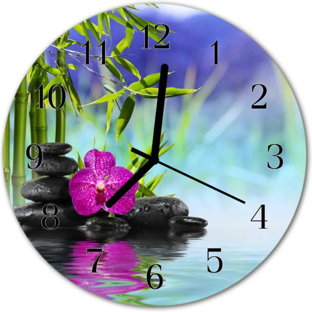 Nástenné skleněné hodiny Orchid spa