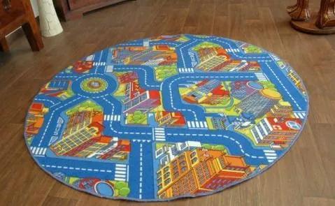 MAXMAX Detský guľatý koberec ULIČKA BIG CITY - modrý modrá