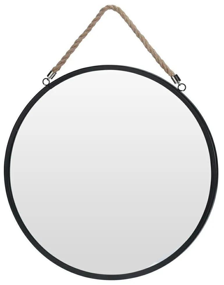 DekorStyle Guľaté zrkadlo - čierny rám