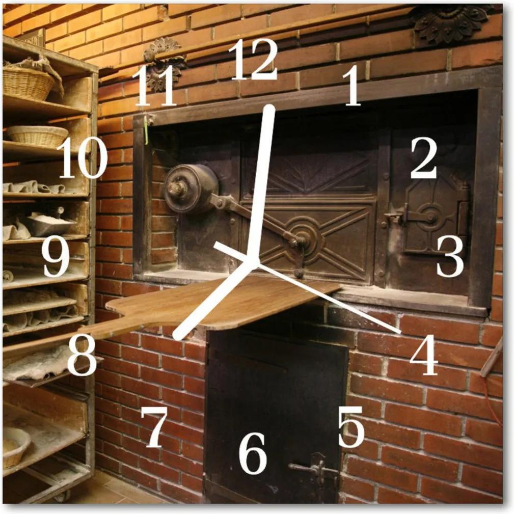 Skleněné hodiny čtvercové Chléb chleba