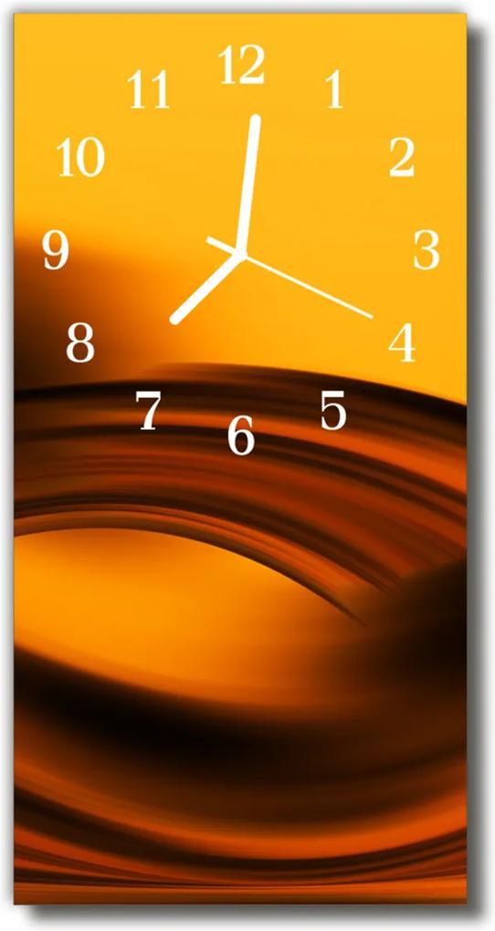 Skleněné hodiny vertikální Art Waves oranžová abstrakce