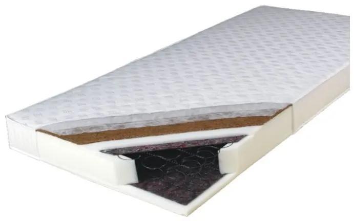 TEMPO KONDELA Kokos Medium obojstranný pružinový matrac 80x200 cm pružiny / plsť / PUR / latex-kokos doska / látka