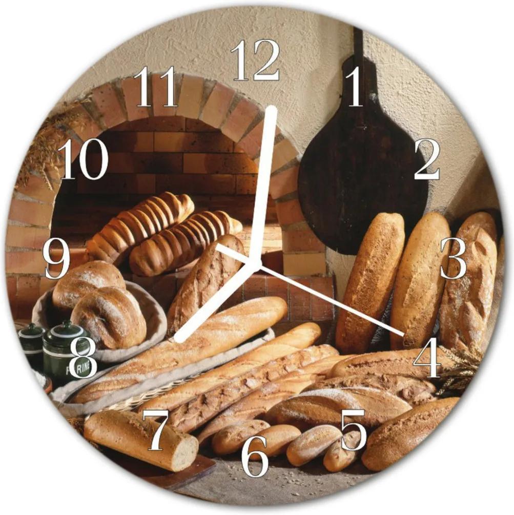 Skleněné hodiny kulaté chléb