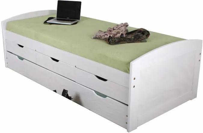 TEMPO KONDELA Marinella 90 drevená posteľ s prístelkou biela
