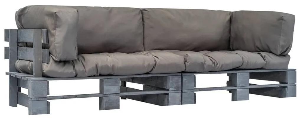 vidaXL 2-dielna sedačka z paliet, sivé podložky, FSC borovica