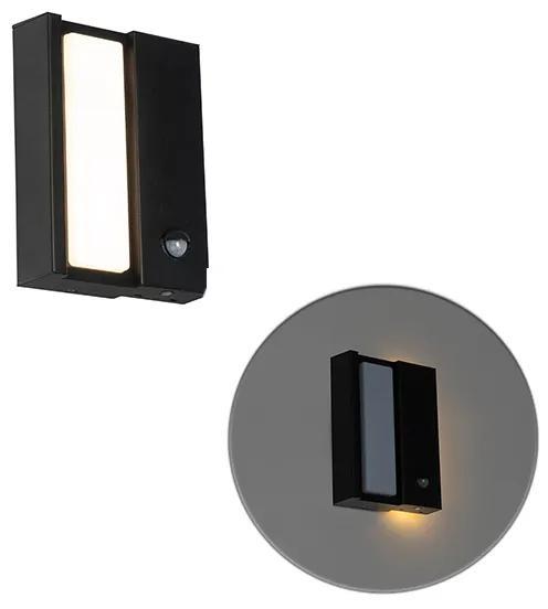 Moderné vonkajšie nástenné svietidlo čierne IP44 s pohybovým senzorom - Spiare