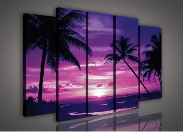 Obraz na plátne viacdielny - OB2671 - Západ slnka - fialový 150cm x 100cm - S12