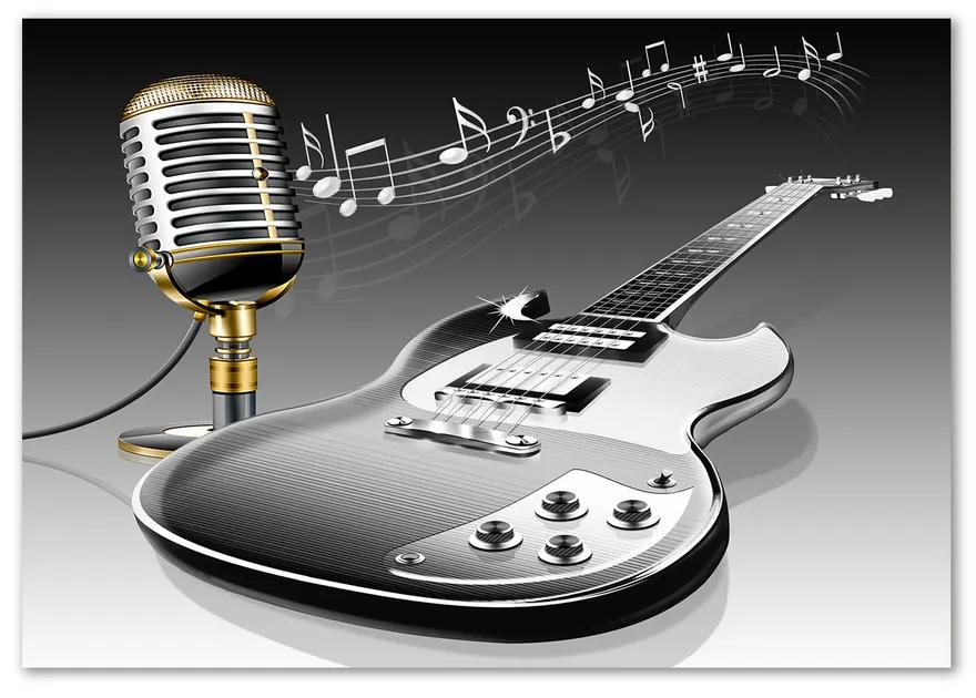 Foto-obraz sklo tvrdené Gitara a mikrofón pl-osh-100x70-f-80845509