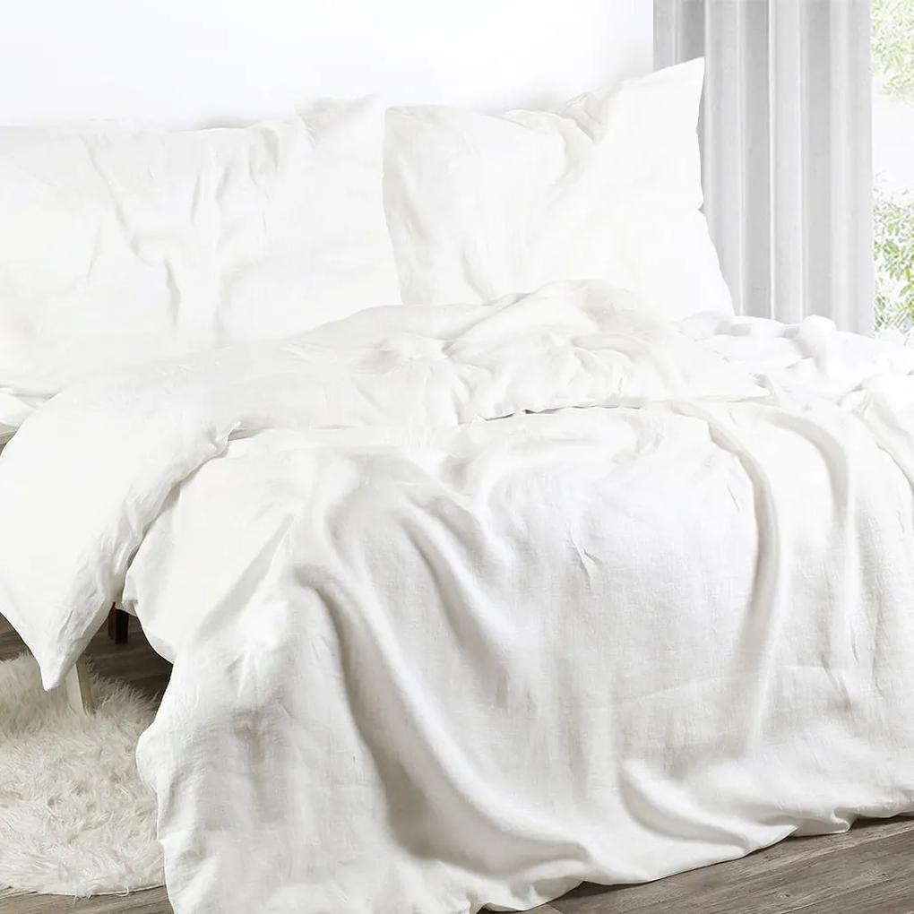 Goldea exkluzívne ľanové obliečky - biele 140 x 220 a 70 x 90 cm
