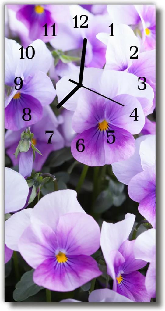 Skleněné hodiny vertikální Květy, fialové květy