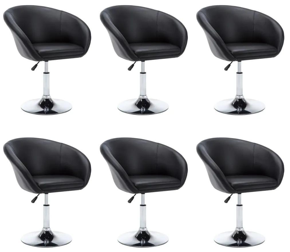 vidaXL Otočné jedálenské stoličky 6ks umelá koža 67,5x58,5x87cm čierne