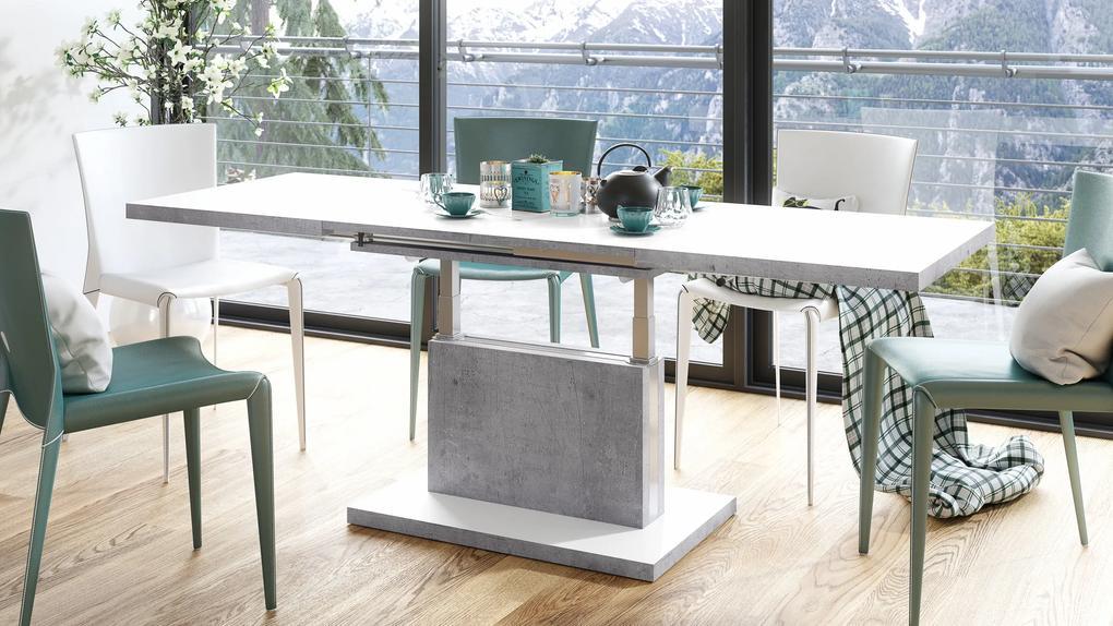 ASTON biela / betón - rozkladací, zdvíhací, konferenčný stolík