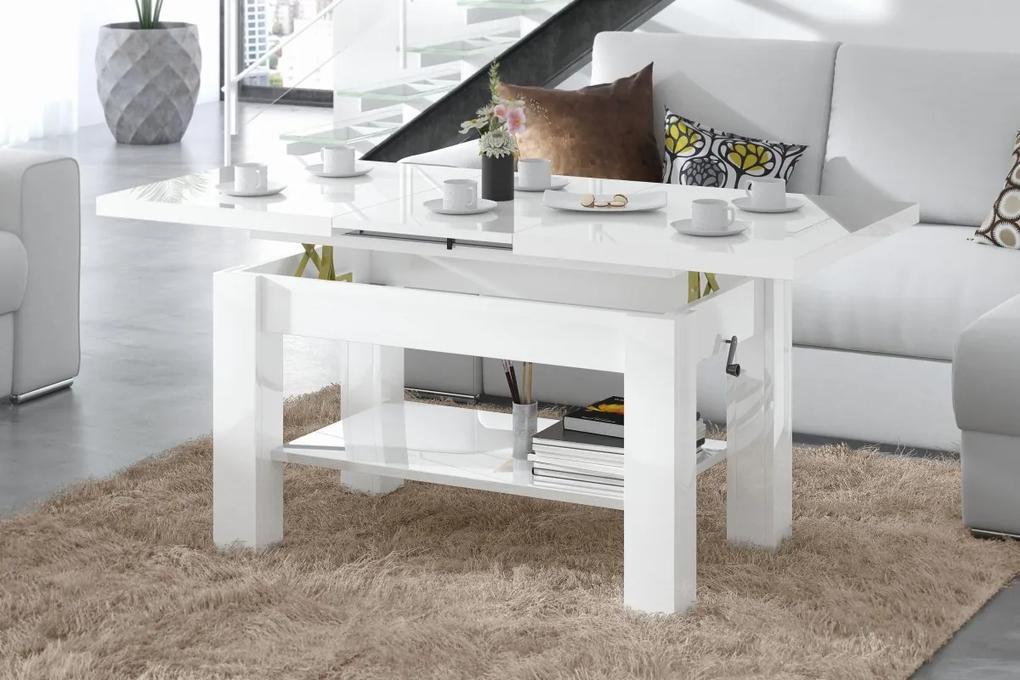 ASTORIA biela lesk, rozkladacia, zdvíhací konferenčný stôl, stolík