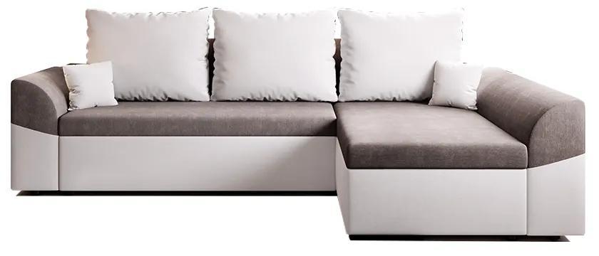 Rozkladacia rohová sedacia súprava, biela/sivá, DESNY