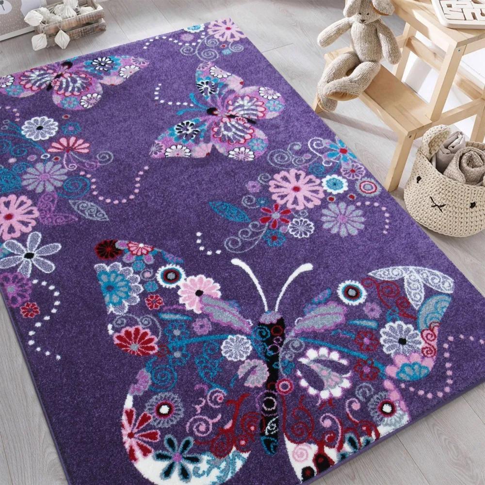 DY Detský fialový koberec Motýliky Rozmer: 160 x 220 cm
