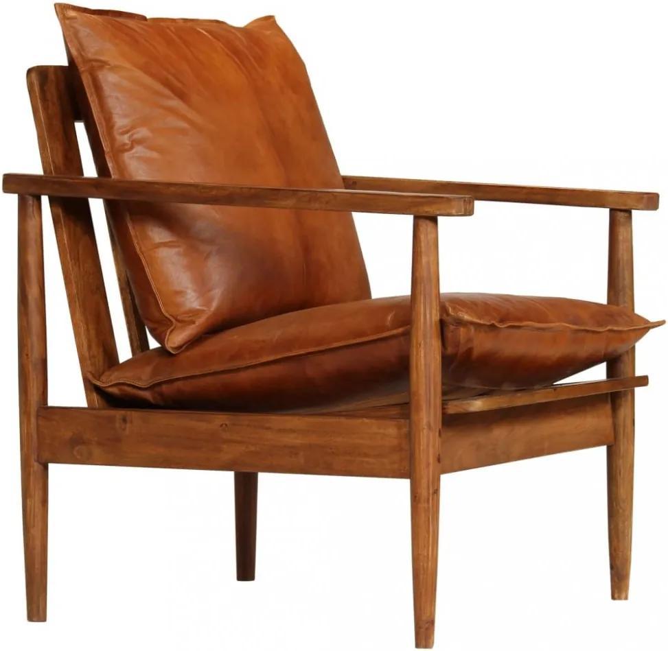 Kreslo pravá koža / akáciové drevo Dekorhome Hnedá