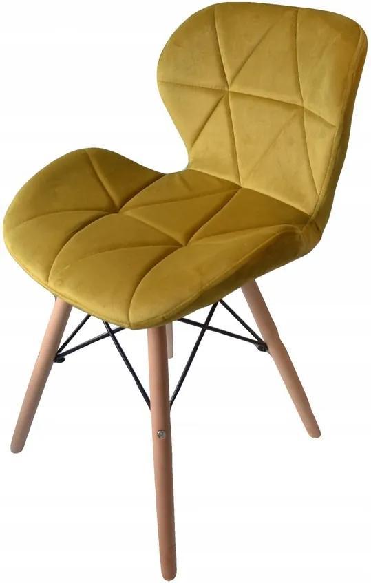 Jedálenské stoličky SKY horčicové 4 ks - škandinávsky štýl
