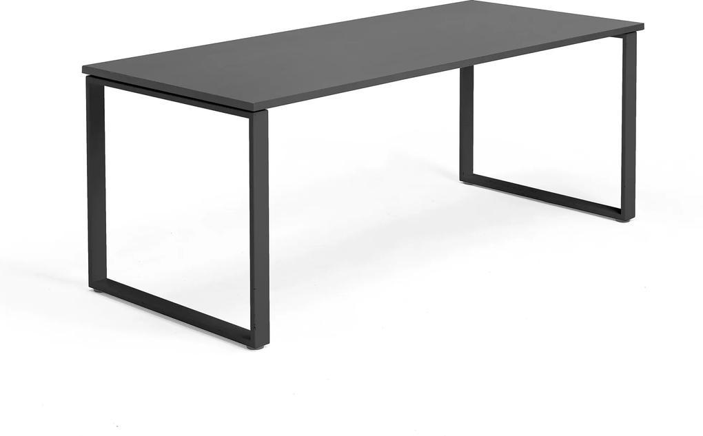 Kancelársky pracovný stôl Modulus, O-rám, 1800x800 mm, čierna/čierna
