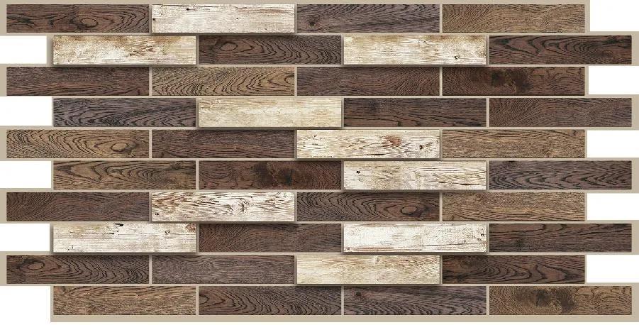 Obkladové 3D PVC panely TP10011594, rozmer 980 x 480 mm, drevenný obklad dub Toffee, GRACE
