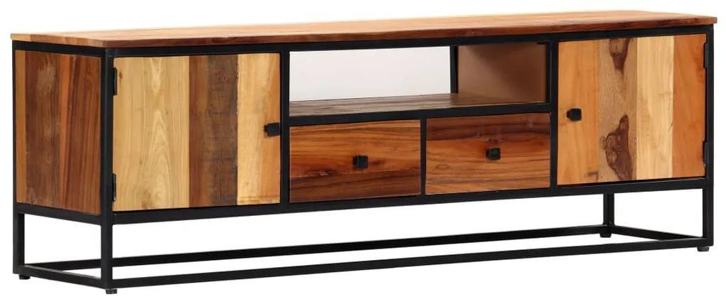 vidaXL TV stolík 120x30x40 cm masívne recyklované drevo a oceľ