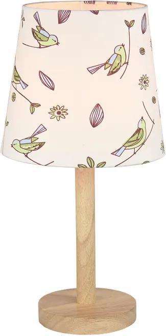 Stolná lampa, drevo/látka vzor vtáci, QENNY TYP 7 LT6026