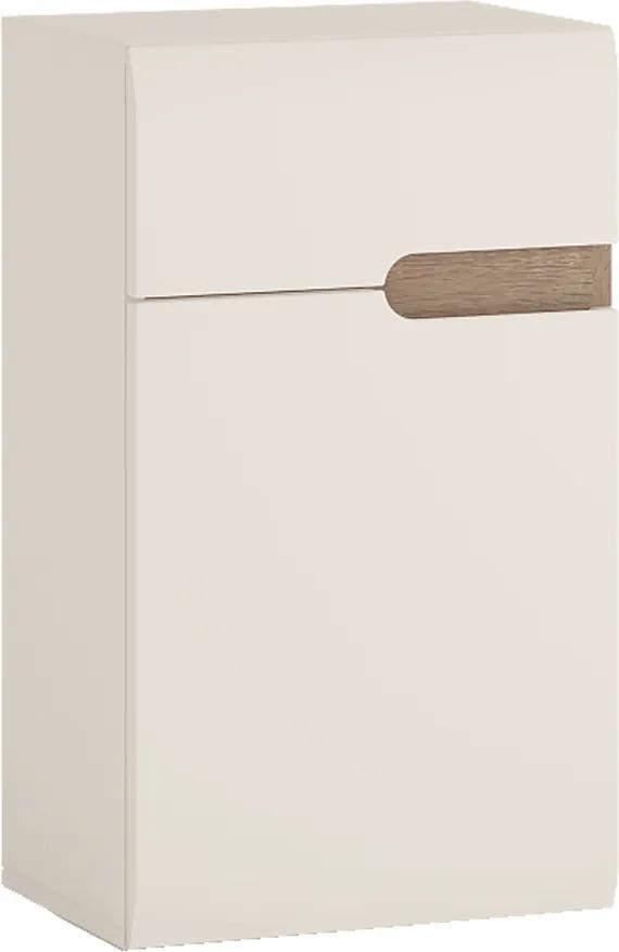 Dolná skrinka 1D1S, biela extra vysoký lesk HG/dub sonoma truflový, ľavá, LYNATET TYP 156
