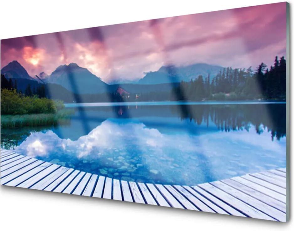 Obraz na akrylátovom skle Hora Jazero Príroda